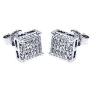 925 Silver Rhodium Micro Pave Earrings